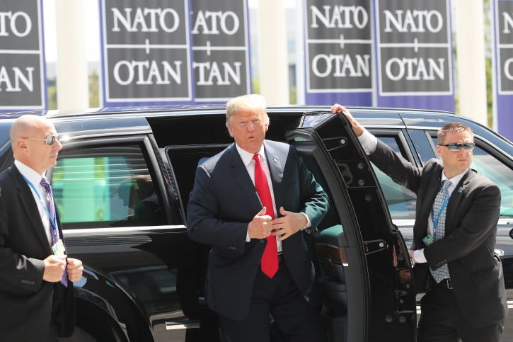 US President Donald J. Trump (C) arrives for a NATO summit in Brussels, Belgium, 11 July 2018. EPA