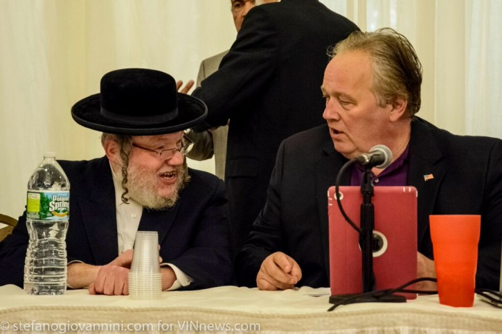 In this June 11 2015 photo, then Monroe Town Supervisor Harley Doles is seen with Kiryas Joel Mayor Abe Weider
