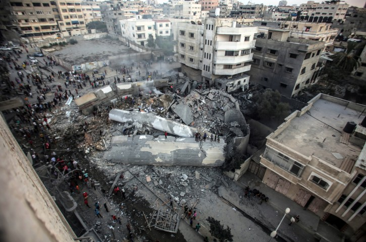 A general view of Said al-Mishal Cultural Center building destroyed in Israeli air strike in the west of Gaza City in Gaza, 09 August 2018.EPA