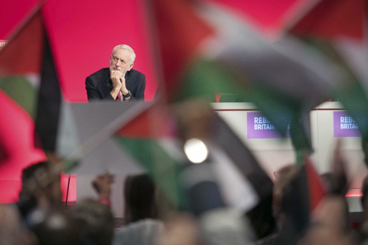 Labour leader Jeremy Corbyn on the platform during the Labour Party's annual conference at the Arena and Convention Centre (ACC), in Liverpool. PRESS ASSOCIATION Photo.