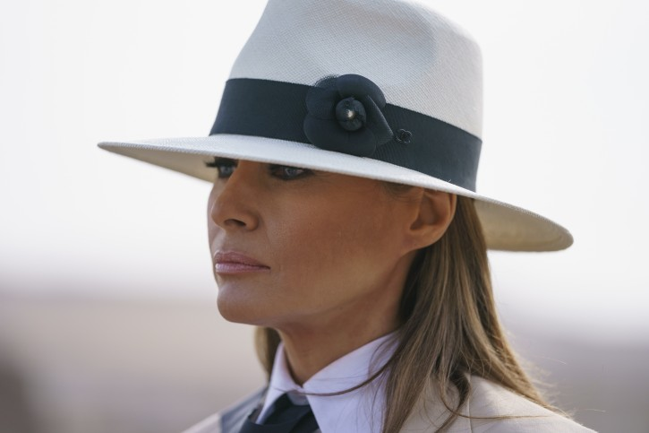 In this Oct. 6, 2018 photo, First lady Melania Trump pauses as she speaks to media during a visit to the historical Giza Pyramids site near Cairo, Egypt.  (AP Photo/Carolyn Kaster)