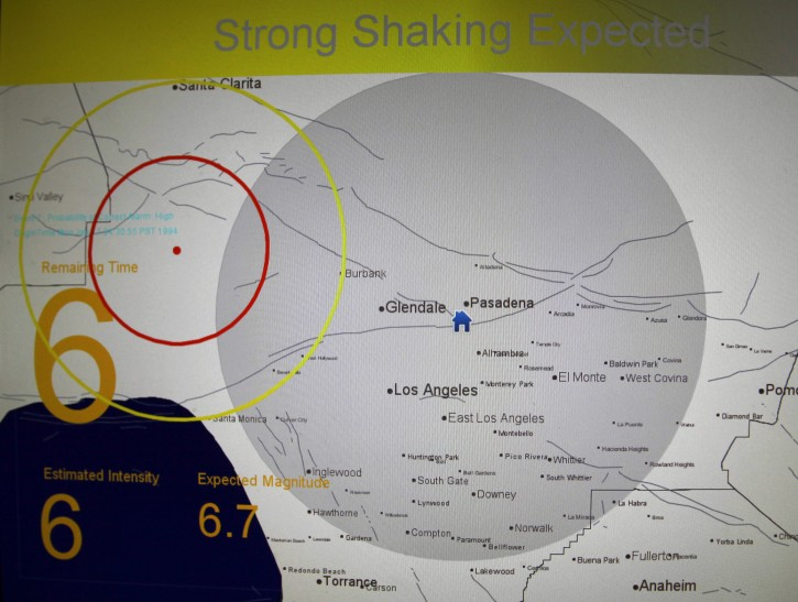 FILE - This Sept. 13, 2011 file photo shows a computer replication of the 6.7 magnitude Northridge Earthquake of 1994 during a demonstration of an early earthquake warning system at the California Institute of Technology in Pasadena, Calif. AP