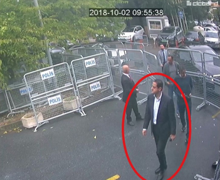 In a still image from surveillance camera footage taken Oct. 2, 2018, and published Thursday, Oct. 18, 2018, by the pro-government. ( Sabah via AP )