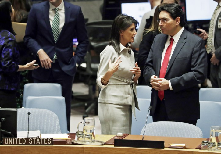 United States Ambassador to the UN Nikki Haley (L) chats with Israeli Ambassador to the UN Danny Danon before a Security Council meeting on the situation in the Middle East, including the Palestinian question at United Nations headquarters in New York, New York, USA, 08 December 2017. EPA