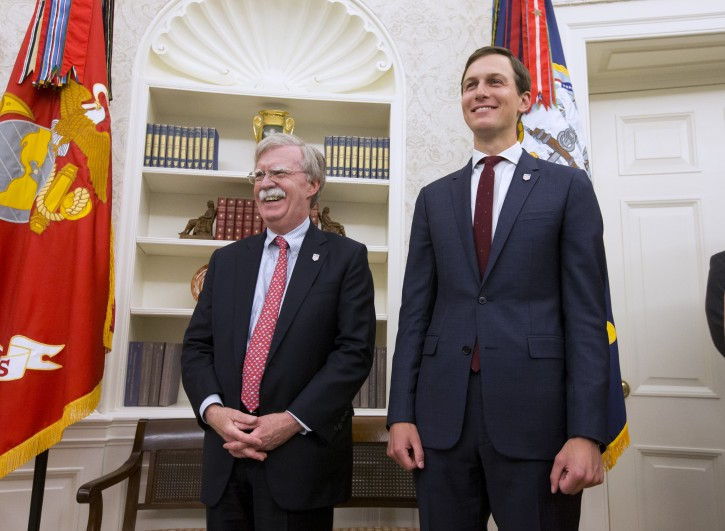 FILE - US National Security Advisor John Bolton (L) and Senior Advisor to the President Jared Kushner (R) listen to US President Donald J. Trump in the Oval Office of the White House in Washington, DC, USA, 28 August 2018. EPA