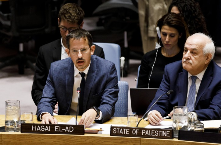Hagai El-Ad (L), the Executive Director of B'Tselem, an Israeli Human Rights organization, speaks while sitting next to Riyad Mansour (R), Palestine's Ambassador to the United Nations, during an United Nations Security Council meeting about the conflict between Israel and Palestine at United Nations headquarters in New York, New York, USA, 18 October 2018.  EPA
