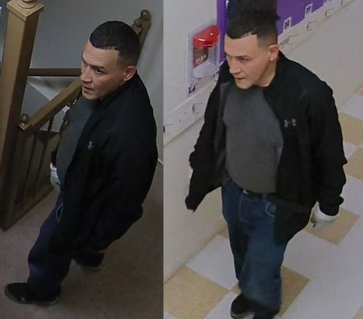 The suspect is seen at the Seret Vizhnitz synagogue located at 4811 13th Avenue October 8.