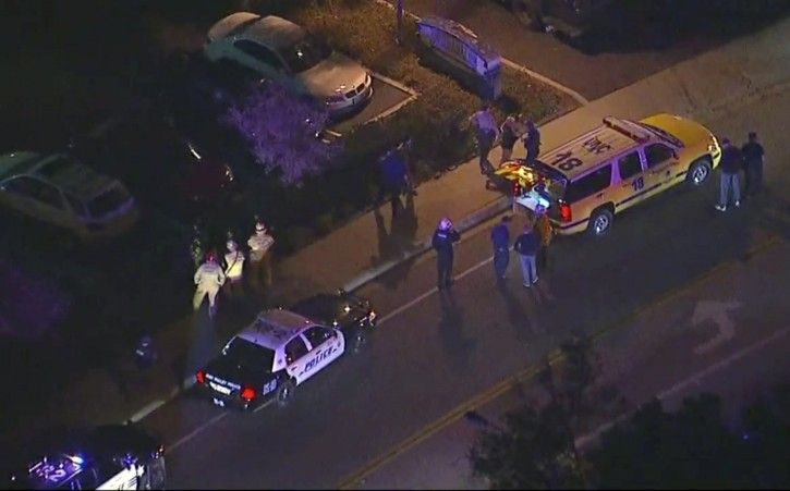 In this image made from aerial video, police vehicles line a road in the vicinity of a shooting in Thousand Oaks, California, early Thursday, Nov. 8, 2018. (KABC via AP)