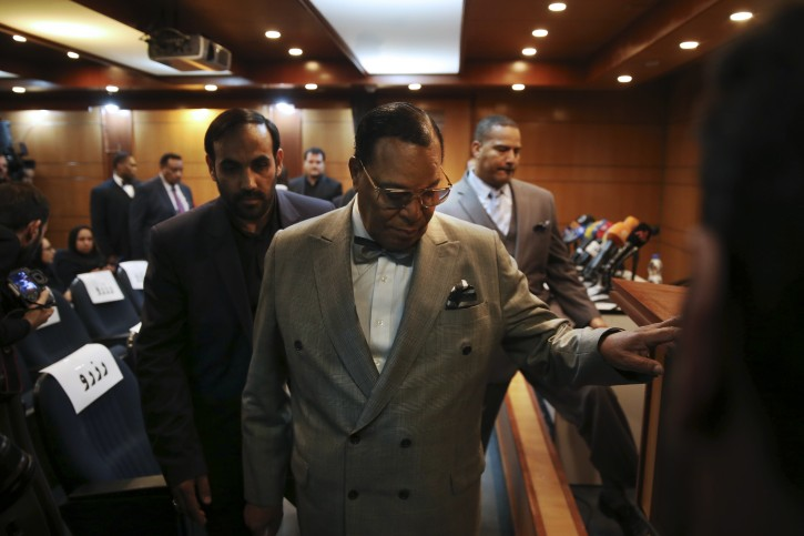 Minister Louis Farrakhan, the leader of the Nation of Islam, arrives to his press conference, in Tehran, Iran, Thursday, Nov. 8, 2018. (AP Photo/Vahid Salemi)