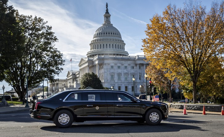 President Donald Trump's motorcade leaves Capitol Hill after a ceremony for new Associate Justice Brett Kavanaugh at the Sumpreme Court, in Washington, Thursday, Nov. 8, 2018. (AP Photo/J. Scott Applewhite)