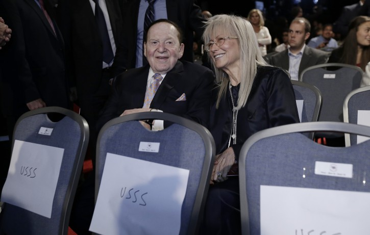 US casino magnate Sheldon Adelson (L) and his wife Miriam Adelson (R). EPA