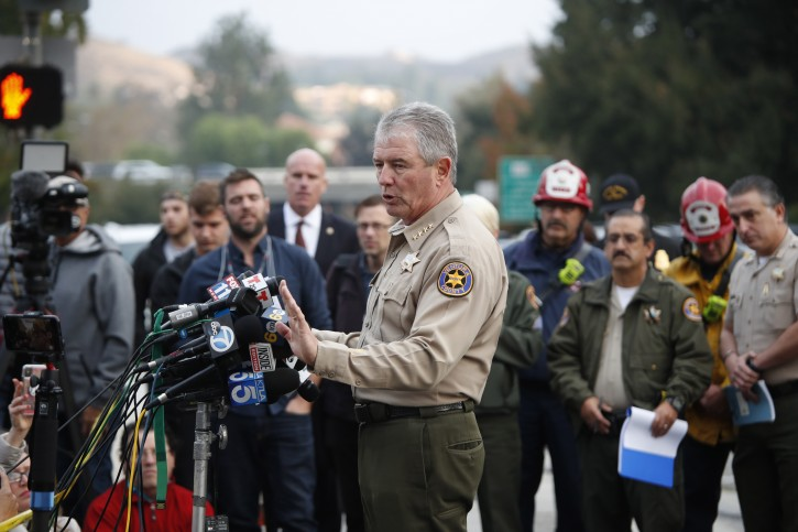 Ventura County Geoff Dean addresses the media about the mass shooting at the Borderline Bar and Grill in Thousand Oaks, California, USA, 08 November 2018 where 13 people were killed. EPA