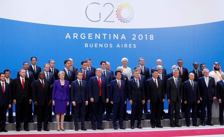 FILE PHOTO: G20 leaders pose for a family photo during the G20 summit in Buenos Aires, Argentina November 30, 2018. REUTERS/Kevin Lamarque
