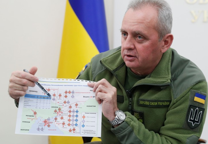 Chief of the General Staff of Ukraine's Armed Forces Viktor Muzhenko shows documents during an interview with Reuters in Kiev, Ukraine December 4, 2018.  REUTERS/Valentyn Ogirenko