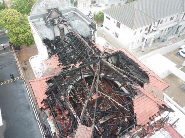 An aerial shot showing the devastation of the fire