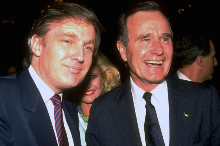 Donald Trump with Vice President George H.W. Bush at Republican party fundraiser at the Plaza Hotel. April 12, 1988.