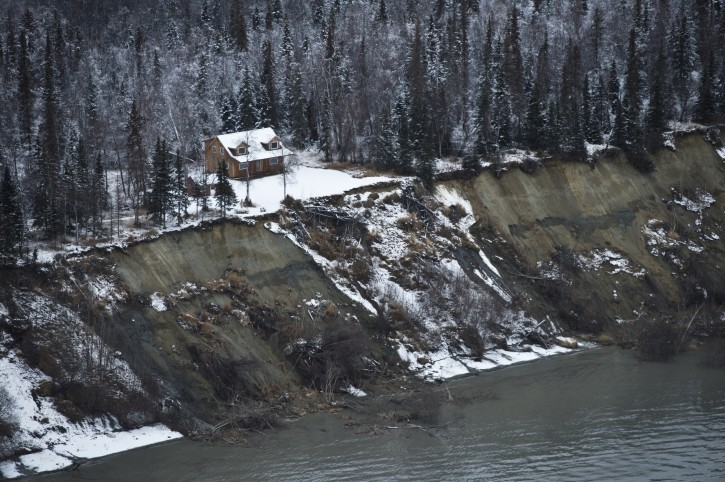 Some earth slid from a bluff on the northwest side of Knik Arm during an earthquake that caused damage in the Anchorage area on November 30, 2018. (Marc Lester / ADN)