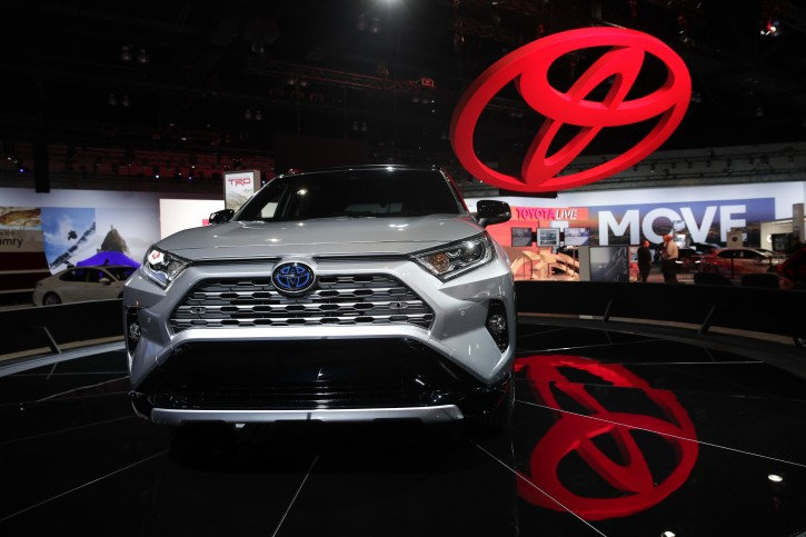 FILE - In this Nov. 28, 2018, file photo the 2019 Toyota RAV4 is displayed at the Los Angeles Auto Show in Los Angeles. (AP Photo/Jae C. Hong, File)