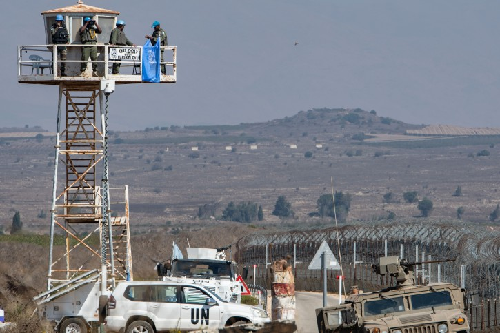 UN Peacekeepers and Israeli soldiers seen at the Israeli side of the Quneitra Crossing, in the Israeli Syrian border in the Golan Heights on September 27, 2018. Photo by Basel Awidat/Flash90