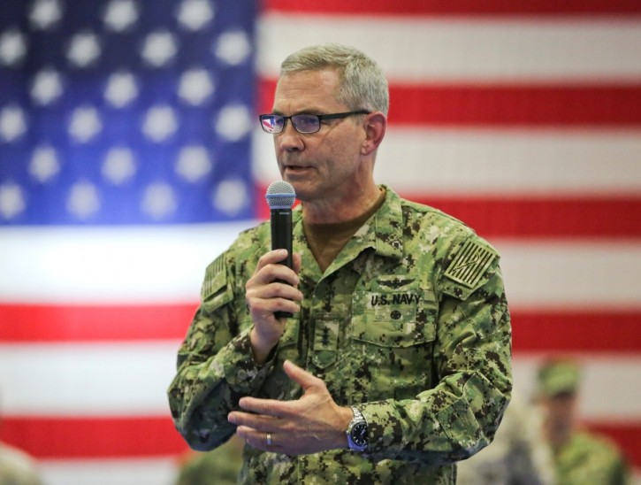 U.S. Navy Vice Adm. Scott A. Stearney, the commander of U.S. Navy's 5th Fleet, was found dead in his Bahrain home Saturday, Chief of Naval Operations Adm. John Richardson said on Twitter. Foul play is not suspected, Richardson said. Stearney is shown here in July. (U.S. Marine Corps photo)