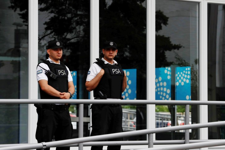 FILE - Police officers guard grounds where the G20 Summit will be held, in Buenos Aires, Argentina, 27 November 2018. EPA
