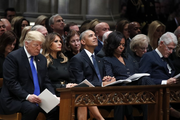 President Donald Trump, first lady Melania Trump, former President Barack Obama, Michelle Obama, and former President Bill Clinton listen during a State Funeral at the National Cathedral, in Washington, DC, USA, 05 December 2018.  EPA