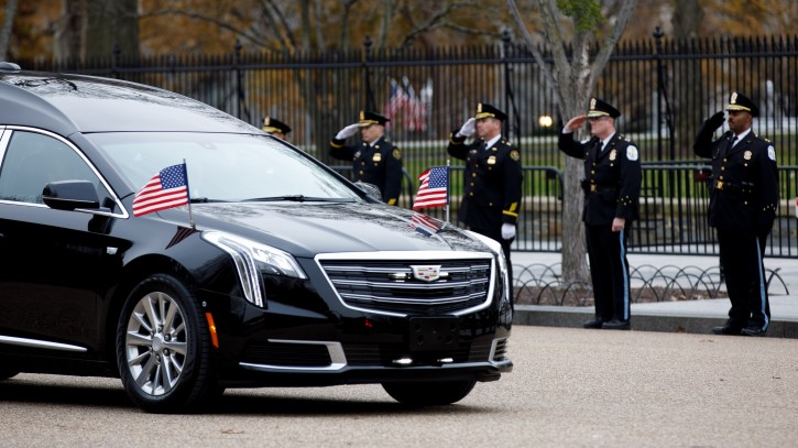 The hearse carrying the casket containing the body of former US President George H.W. Bush passes by the front of the White House in Washington, DC, USA, 05 December 2018. EPA