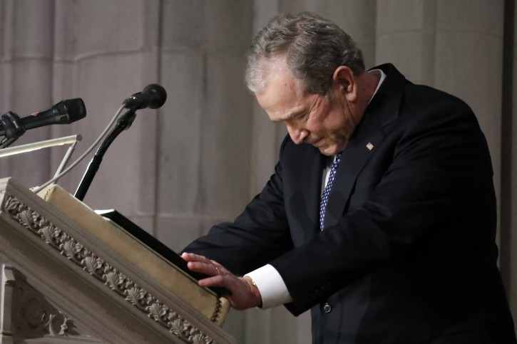Former US President George W. Bush speaks at the State Funeral for his father, former US President George H.W. Bush, at the National Cathedral, in Washington, DC, USA, 05 December 2018. George H. W. Bush, the 41st President of the United States (1989-1993), died in his Houston, Texas, USA, home surrounded by family and friends on 30 November 2018. EPA