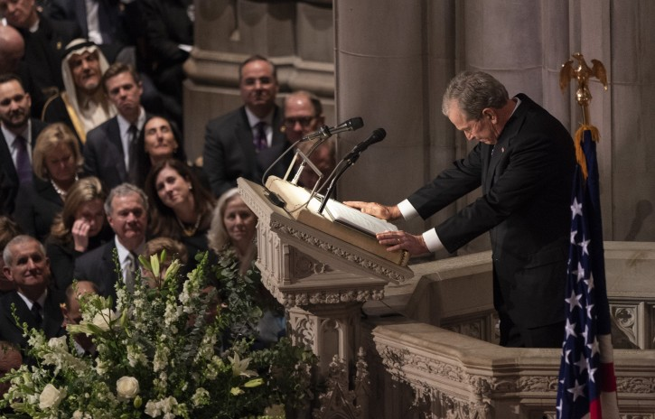 Former US President George W. Bush pauses for a moment while givin a eulogy during the state funeral service of his father, former US President George H.W. Bush at the National Cathedral, in Washington, DC, USA, 05 December 2018. EPA