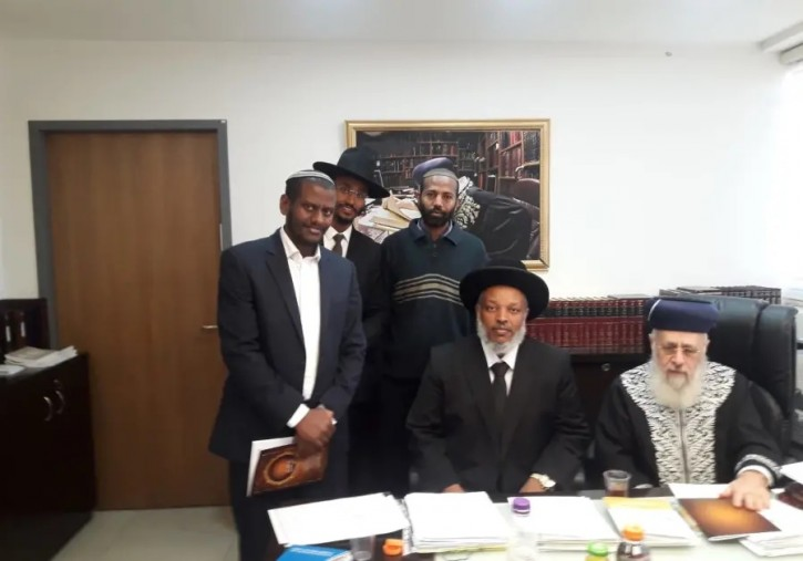 Rabbi Yosef, Rabbi Wobst and additional rabbis of the Ethiopian community, 2018.. (photo credit: MINISTRY OF RELIGIOUS SERVICES)