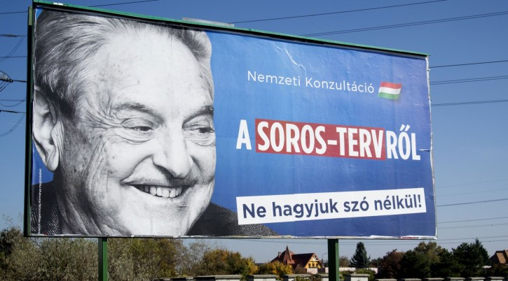 """A billboard showing Hungarian-American billionaire and philanthropist George Soros with the words """"National consultation about the Soros' plan – Don't let it pass without any words"""" is seen in Budapest, Oct. 16, 2017. EPA"""
