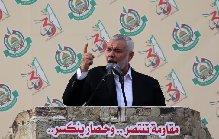 FILE - Hamas Chief Ismail Haniyeh gestures as he speaks during a rally marking the 31st anniversary of Hamas' founding, in Gaza City December 16, 2018. REUTERS/Ibraheem Abu Mustafa