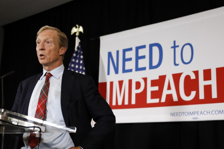 Billionaire investor and Democratic activist Tom Steyer speaks during a news conference where he announced his decision not to seek the 2020 Democratic presidential nomination, Wednesday, Jan. 9, 2019, at the Statehouse in Des Moines, Iowa. (AP Photo/Charlie Neibergall)