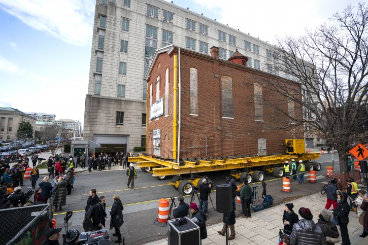 Workers move a part of Adas Israel, DC's oldest synagogue, one block south to its new location where it will form part of the Capital Jewish Museum in Washington, DC, USA, 09 January 2019. This is the third time the 142-year-old structure has been relocated.  EPA-EFE/JIM LO SCALZO