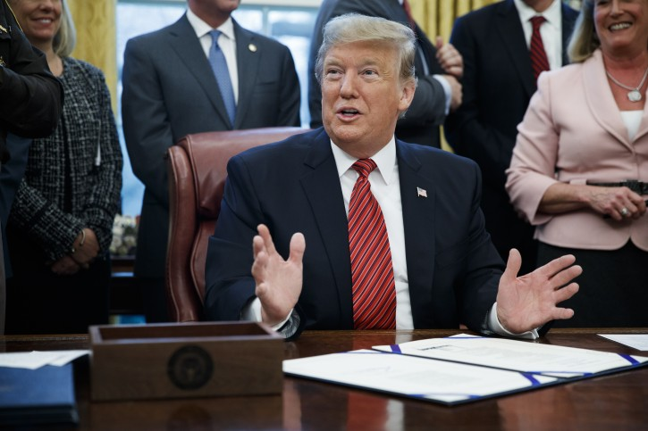 US President Donald J. Trump participates in a signing ceremony for Anti-Human Trafficking Legislation in the Oval Office of the White House in Washington, DC, USA 09 January 2019. EPA