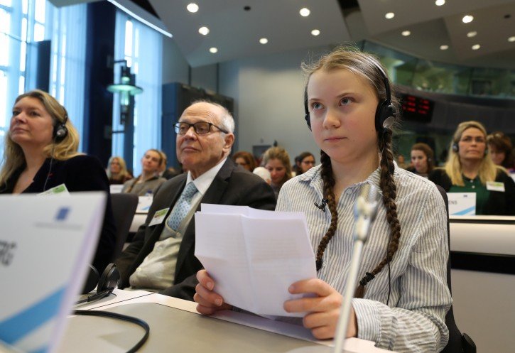 Swedish environmental activist Greta Thunberg attends a conference in Brussels, Belgium February 21, 2019.  REUTERS/Yves Herman