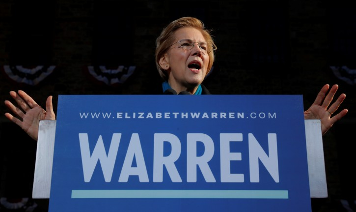 FILE PHOTO: U.S. Senator Elizabeth Warren (D-MA) speaks at a rally to launch her campaign for the 2020 Democratic presidential nomination in Lawrence, Massachusetts, U.S., February 9, 2019.   REUTERS/Brian Snyder
