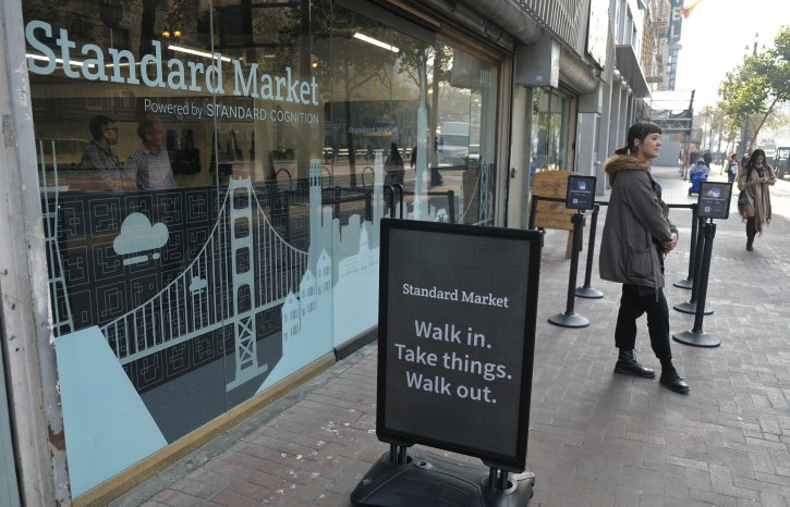 This Nov. 14, 2018, photo shows the Standard Cognition cashier-less store on Market Street in San Francisco. Get ready to say good riddance to the checkout line. A year after Amazon opened its first cashier-less store, startups and retailers are racing to get similar technology in other stores throughout the world, letting shoppers buy groceries without waiting in line. (AP Photo/Eric Risberg)