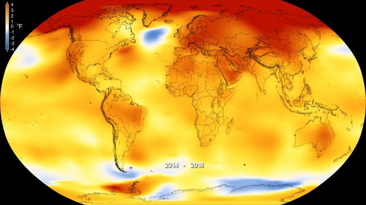 This color-coded map shows global surface temperature anomalies. Higher than normal temperatures are shown in red and lower than normal temperatures are shown in blue. (NASA's Scientific Visualization Studio/Kathryn Mersmann)