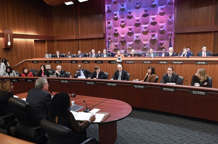 New York City Mayor Bill de Blasio testifies infront of legislative members during a joint legislative budget hearing on local government Monday, Feb. 11, 2019, in Albany, N.Y. (AP Photo/Hans Pennink)