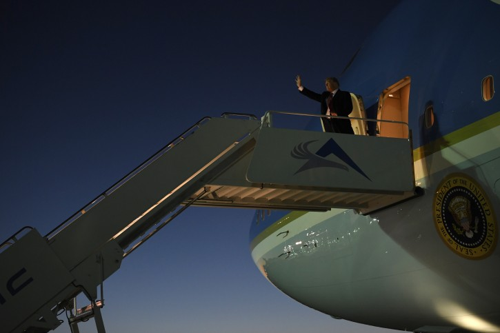 President Donald Trump walks down the steps of Air Force One at El Paso International Airport in El Paso, Texas, Monday, Feb. 11, 2019. Trump is in Texas to try and turn the debate over a wall at the U.S.-Mexico border back to his political advantage. (AP Photo/Susan Walsh)