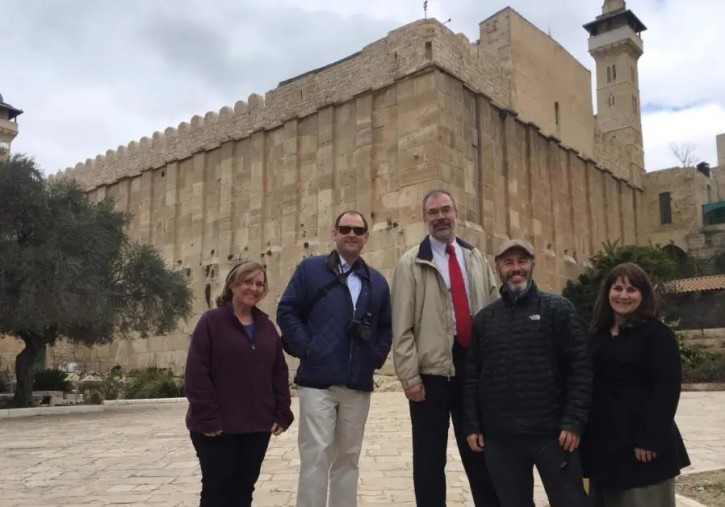 US Representatives Andy Harris (R-MD), Andy Barr (R-KY) visit the Cave of the Matriarchs and Patriarchs in Hebron February 18, 2019.