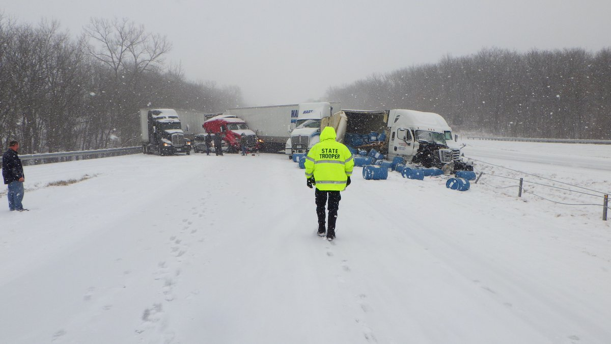 Kansas City, MO - Video: Snow Storm Causes Pile Up, One Dead