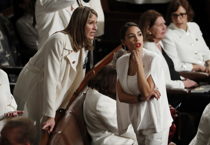 Democratic Representative Alexandria Ocasio-Cortez of New York on the floor of the House before US President Donald J. Trump delivers his second State of the Union address from the floor of the House of Representatives on Capitol Hill in Washington, DC, USA, 05 February 2019.  EPA-EFE/SHAWN THEW