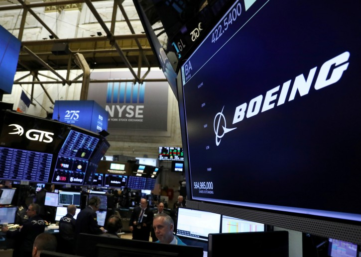 The company logo for Boeing is displayed on a screen on the floor of the New York Stock Exchange (NYSE) in New York, U.S., March 11, 2019. REUTERS/Brendan McDermid/File Photo