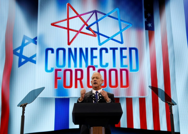 Israel's Blue and White party leader Benny Gantz speaks at AIPAC  in Washington, U.S., March 25, 2019. REUTERS/Kevin Lamarque