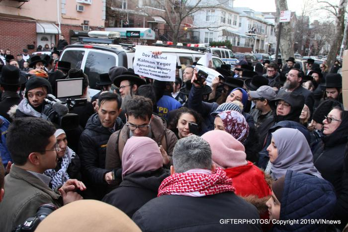 Protest outside Councilman Kalman Yeger's office in Borough Park.