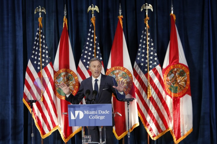 Former Starbucks CEO Howard Schultz gives a speech at Miami Dade College in Miami, Wednesday, March 13, 2019. The 65-year-old billionaire gave details on what an independent presidency could look like despite not yet deciding whether to enter the White House race himself. (AP Photo/Ellis Rua)