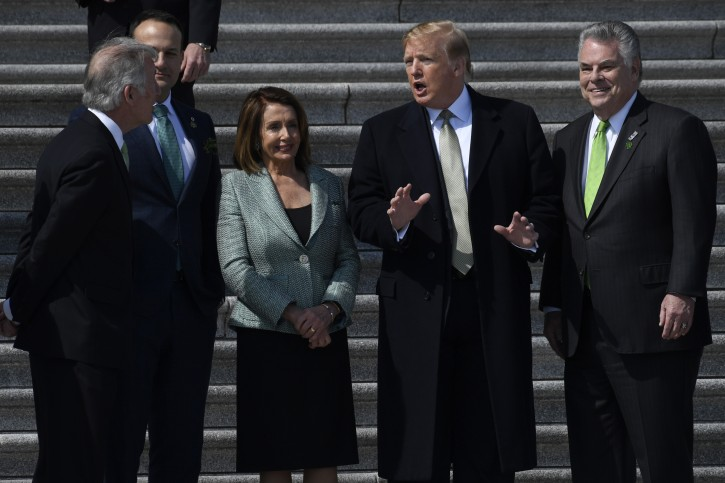 President Donald Trump, second from right, talks with, from left, Rep. Richard Neal, D-Mass., Irish Prime Minister Leo Varadkar, House Speaker Nancy Pelosi of Calif., and Rep. Peter King, D-N.Y., as he arrives on Capitol Hill in Washington, Thursday, March 14, 2019, to have lunch. (AP Photo/Susan Walsh)