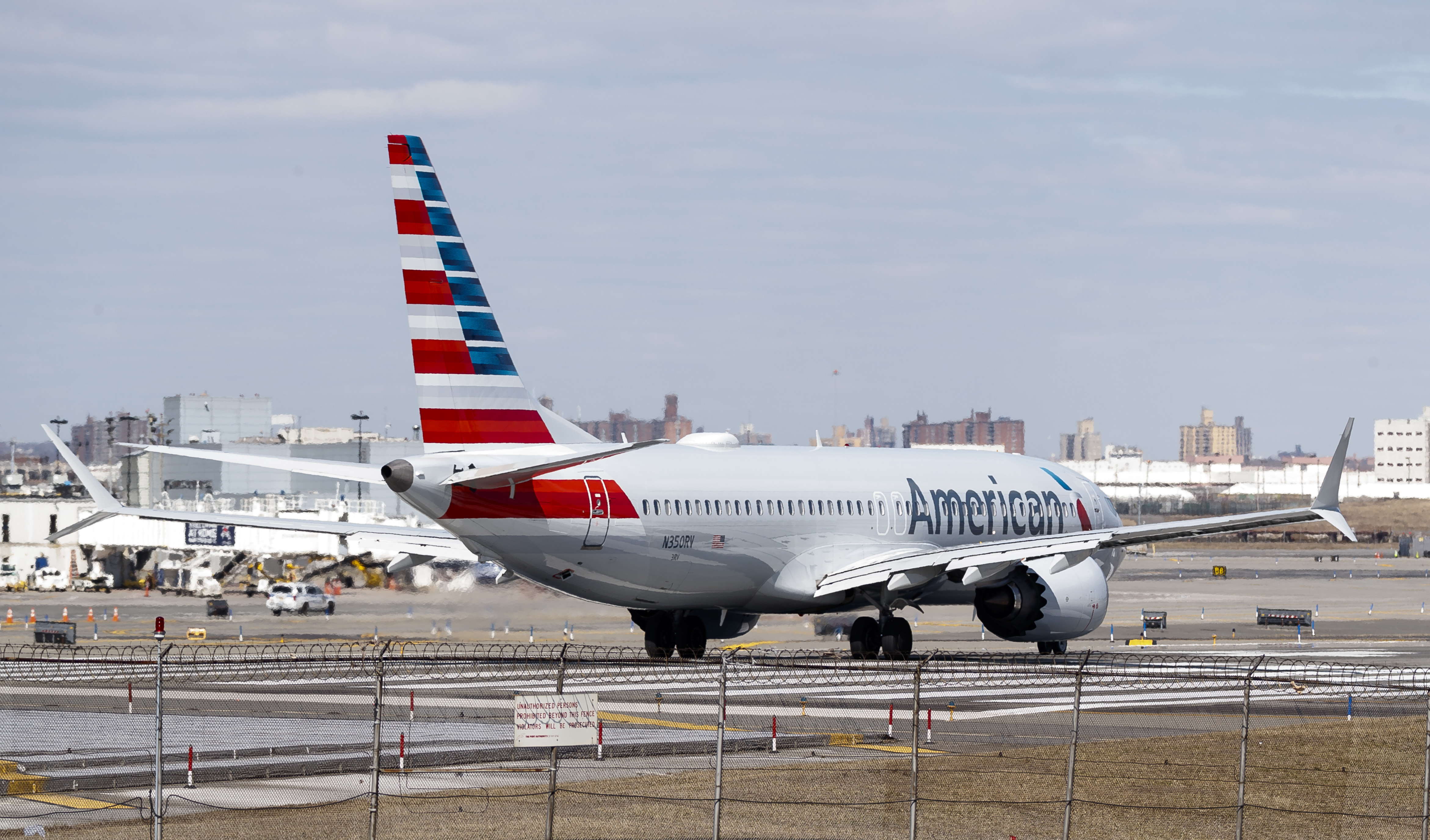 An American Airlines Boeing 737 Max 8 (Tail Number N350RV) prepares for takeoff at LaGuardia Airport in New York, New York, USA, 12 March 2019. EPA
